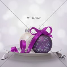 #Christmas Ball Decoration On Plate. Feast Concept #StockPhoto