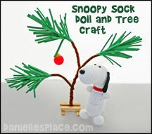 Snoopy Sock Dog and Christmas Tree Craft for Kids from www.daniellesplace.com