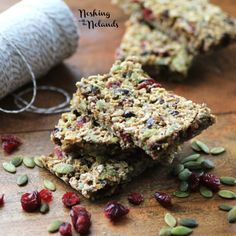 Oat, Cranberry, Pepitas Granola Bars-------Sub apple juice or apple cider for the water.  Maybe even reduce it first to add sweetness and thicken it a bit--about 50%.  sub dried apricots for the dates. Don't grind the oats any finer than necessary and toast them first.  Think about this.