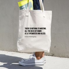 Christmas Gifts for Writers - Ernest Hemingway Quote Tote