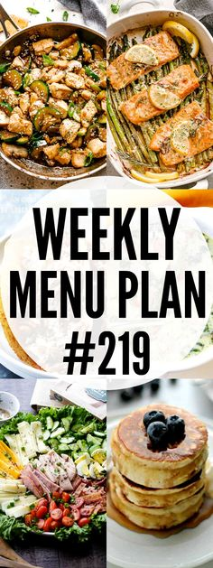 WEEKLY MENU PLAN ( - A delicious collection of dinner, side dish and dessert recipes to help you plan your weekly menu and make life easier for you. Colliflower Recipes, Argula Recipes, Dinner Recipes, Cooking Recipes, Dessert Recipes, Mexican Recipes, Delicious Recipes, Cooking Tips, Healthy Recipes