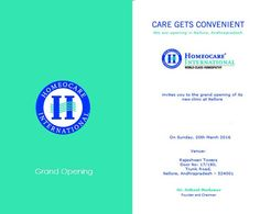 Inviting all to the grand opening of #HomeocareInternational new clinic at #Nellore