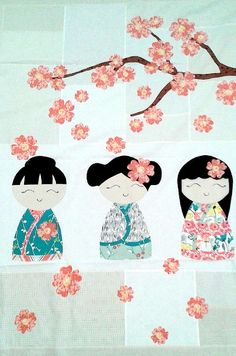 You may also like the Kimono Girl Cushion Kit. Use fusible appliqué to make this adorable quilt with three beautiful kimono girls and a cherry blossom branch. Each quilt kit includes: - Fat Eights Cute Quilts, Mini Quilts, Baby Quilts, Quilting Projects, Quilting Designs, Embroidery Designs, Embroidery Kits, Asian Quilts, Japanese Quilts
