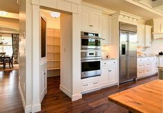 Hidden Walk In Pantry - Design photos, ideas and inspiration. Amazing gallery of interior design and decorating ideas of Hidden Walk In Pantry in kitchens by elite interior designers. Hidden Pantry, Walk In Pantry, Hidden Kitchen, Pantry Room, Wall Pantry, Pantry Closet, Walkin Pantry Ideas, Hidden House, Built In Pantry