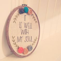 Embroidery hoop art. Love this one. <3 Going to start one similar in the very near future.