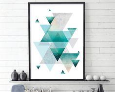 Geometric Poster, Geometric Print, Scandinavian Modern, Scandinavian Print, Scandinavian Art, Scandi Art, Turquoise, Aqua, Rose Gold,…