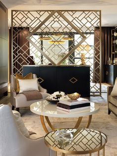 Luxury Living Room Interior Design: gold, black, white and chocolate brown. Salon Art Deco, Arte Art Deco, Art Deco Decor, Boho Decor, Interiores Art Deco, Asian Home Decor, Luxury Home Decor, Luxury Homes, Modern Interior Design