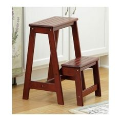 Wooden Step Stool Folds Transport Storage Antique Walnut Kitchen Library Garage