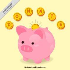 Fondo de cerdito hucha con monedas