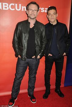 TV stars: Christian Slater and Rami Malek - who star in Mr. Robot - kept it casual in black jackets