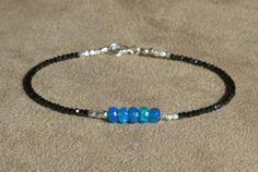 Black Spinel Bracelet, Blue Opal Bracelet, Gemstone Bracelet, Opal Bracelet, Black Bracelet, Dainty Bracelet, Modern Bracelet by ThreeMagicGenies on Etsy