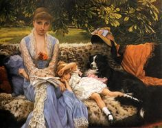 by artist James Jacques Joseph Tissot. hand-painted museum quality oil painting reproduction on canvas. People Reading, Woman Reading, Children Reading, Reading Art, Reading Books, Paintings I Love, Painting Prints, Art Prints, Oil Paintings