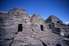 Skellig Michael, Ireland An Irish Celtic monastery, which is situated almost at the summit of the 230-metre-high rock, was built in 588. The very spartan conditions inside the monastery illustrate the ascetic lifestyle practiced by early Irish Christians. The monks lived in stone 'beehive' huts (clochans), perched above nearly vertical cliff walls.