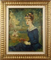 Portrait of a girl seated with flowers by Frederic John LLoyd Strevens