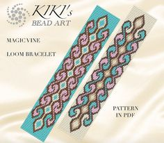 This is an own designed pattern in PDF format, downloadable directly from Etsy.  This pattern is for the Magic vine LOOM bracelet which is created for Japanese delica beads.  The pdf file includes both versions for: 1. a large picture of the pattern 2. a large, detailed graph of the pattern, 3. a bead legend with the colour numbers and count of the delica beads for the suggested length 4. a word chart of the pattern.  Please note that my patterns do not include instructions for how to do…