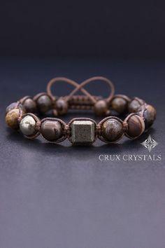 Cubic, Men's Shamballa Bracelet, Natural Stone, Valentines Day, Brown Macrame, Gift for Him, Bronzite Bracelet, Pyrite Bracelet