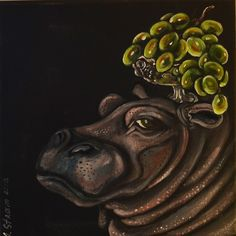 Acrylic painting, Anna Strøm, Original painting, painting, , modern interior, wall decor, modern wall decor, grey wall,black picture, contemporary art,art,kunst, canvas,acrylic, large painting, contemporary design,hippo, animals panit,funny animals painting Modern Wall Decor, Modern Art, Black Picture, Decorating With Pictures, Large Painting, Grey Walls, Animal Paintings, Modern Interior, Art Art