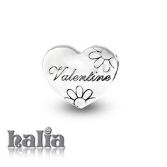 "Be My Valentine: Heart shaped bead adorned with flowers and inscribed 'Valentine"": designed exclusively by Halia, this bead fits other popular bead-style charm bracelets as well. Sterling silver, hypo-allergenic and nickel free.   $35.00"