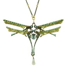 redcowboyboots: René Lalique 1904  Damselfly Necklace. Four gold and enamel damselflies surround a central blue glass bead and drop. The insect's heads and the upper edges of their wings, are an opalescent, closed-back enamel, while the bulk of the wings are a pale green plique-à-jour enamel. The chain is gold with green enamelling.