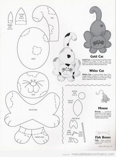 """Mimo Artes: Moldes A huge amount of patterns for """"fealties"""". Paper Piecing Patterns, Felt Patterns, Applique Patterns, Applique Quilts, Sewing Patterns, Cat Crafts, Sewing Crafts, Sewing Projects, Cat Quilt"""