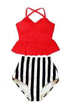 Red Peplum Long Tankini Top and Stripe Stripes High by venderstore