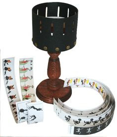 The zoetrope was one of the earliest movie toys and was extremely popular in the latter half of the 19th century. It consisted of a slotted cylinder through with one views paper animated movie strips. As the cylinder spins the user looks through the slits at the pictures on the opposite side of the cylinder's interior. The scanning of the slits keeps the pictures from simply blurring together so that the user sees a rapid succession of images producing the illusion of motion, the equivalent…