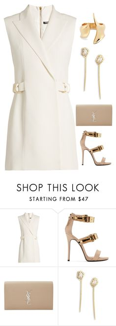"""V"" by assema123 ❤ liked on Polyvore featuring Balmain, Giuseppe Zanotti, Yves Saint Laurent and Alexis Bittar"