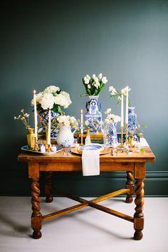 cobalt and gold bridal inspiration - photo by Christine Barlow Photography http://ruffledblog.com/cobalt-and-gold-bridal-inspiration #tablescape #weddingideas