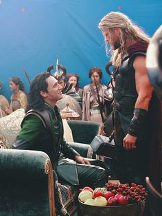 Tom Hiddleston as Loki and Chris Hemsworth as Thor