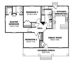 Laundry would be pantry and not Cottage Style House Plan - 3 Beds Baths 1260 Sq/Ft Plan Cottage Style House Plans, House Plans One Story, Southern House Plans, Cottage Plan, Tiny House Plans, House Floor Plans, Cottage House, Small House Plans Under 1000 Sq Ft, House Plans 3 Bedroom