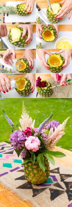 Cut Top & Bottom off, Use a Pineapple Corer to clean out the Pineapple, Drop a a Mason jar, Fill with water, Add flowers. Pineapple Collage - a super fun idea for Summer parties