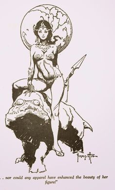 Cap'n's Comics: Cover to A Princess of Mars by Frank Frazetta Fantasy Drawings, Fantasy Artwork, Art Drawings, Fantasy Art Women, Dark Fantasy Art, Character Art, Character Design, Arte Alien, Occult Art