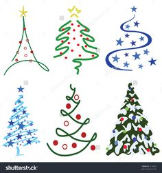 Christmas Tree Design Set – Six tree designs in set