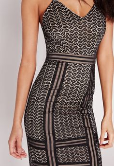 Missguided - Lace Detail Strappy Midi Dress Black