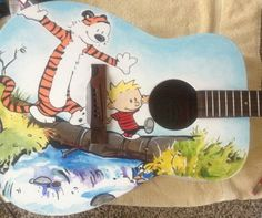 "Custom Painted ""Calvin And Hobbes"" Guitar -  by Redditor BigWiggly1"
