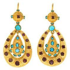 Austro-Hungarian Garnet Turquoise Gilt Silver Dangle Earrings
