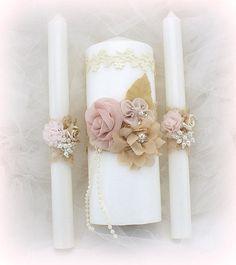 Wedding Unity Candle Set Ivory Rose Blush Champagne with Lace Vintage Elegant Style Lace Candles, Wedding Unity Candles, Diy Candles, Bridal Cuff, Bridal Lace, Blush Rosa, Baptism Candle, Princess Bridal, Swatch