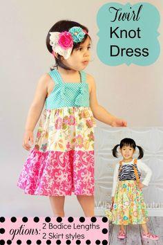 Twirl Knot Dress PDF Sewing Pattern 12m - 12 girls