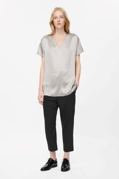 V-neck silk top
