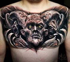 Follow @TATTOOWONDERLAND on Pinterest for more!! Creepy devil tattoo - realism Full Chest Tattoos, Chest Tattoos For Women, Chest Piece Tattoos, Pieces Tattoo, Tattoos For Guys, Back Piece Tattoo Men, Satanic Tattoos, Evil Tattoos, Scary Tattoos