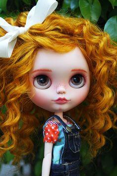 Blythe Doll ruiva laço Branco linda beautiful Hair