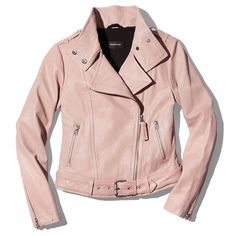 Mackage Hania Leather Moto Jacket - 100% Exclusive (€720) ❤ liked on Polyvore featuring outerwear, jackets, motorcycle jacket, pink moto jacket, pink jacket, rider jacket and moto jackets