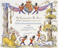 An invitation to the coronation. Really beautiful artwork and so well preserved.
