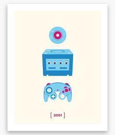 Nintendo Minimalist C Series GameCube Poster 11 x 14 by Helvebula, $15.50