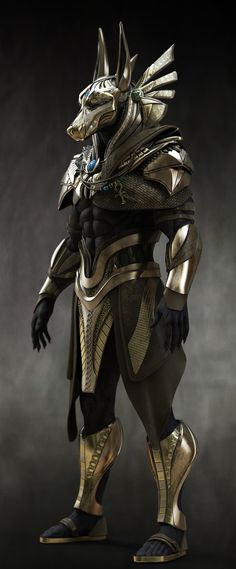Would make GREAT Costume - Anubis. Would make GREAT Costume -You can find Museums and more on our website. Would make GREAT Cos. Fantasy Armor, Dark Fantasy Art, Sci Fi Fantasy, Fantasy Creatures, Mythical Creatures, Egypt Concept Art, Anubis Tattoo, Egyptian Mythology, Egypt Art