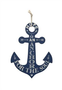 Hope is an Anchor for the Soul Shaped Nautical Sign - Navy Blue Beach Decor
