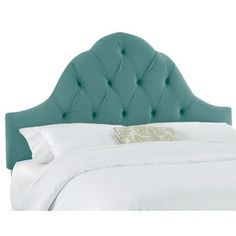 Turquoise Tufted Headboard.