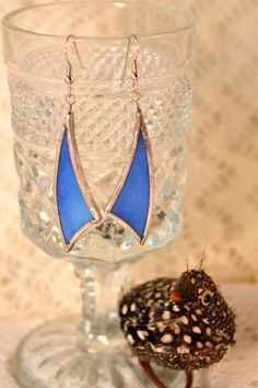 Sky Blue Stained Glass Earrings from Rainy Wish Studios by Charles Barnes