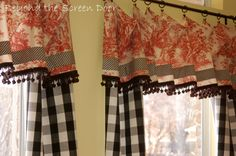 drapes window treatments | Up close view of the red toile and black check window treatments.A UNIQUE TAKE ON TOILE WINDOW TREATMENTS !!!' Cherie