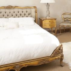 Versailles Upholstered Gold Bed